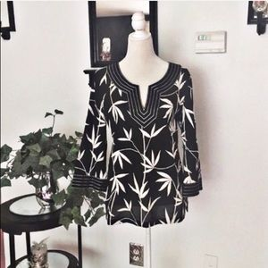Talbots Black White Top Blouse with Bell Sleeves